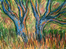 "Blue Trees,  Acrylic on paper,  24"" x 30"", 2003"