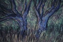 "Blue Trees, Acrylic on paper 24"" x 30"", 2003"