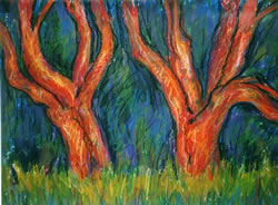 "Red Trees,  Acrylic on paper,  24"" x 30"", 2003"
